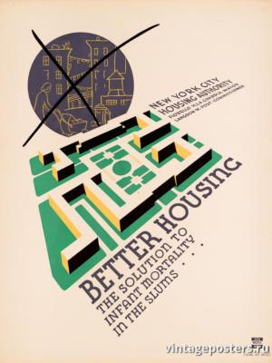 """Винтажный Ретро Постер """"Качественное жилье — решение проблемы детской смертности в трущобах"""" США 1936 для интерьера купить"""