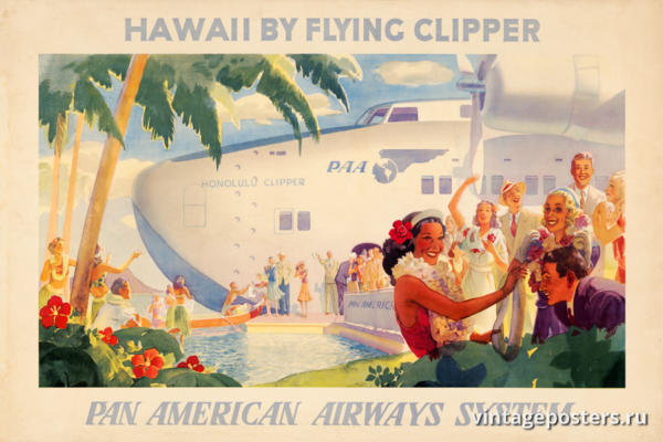 """Винтажный Ретро Постер """"Гавайи на летающем клипере - Pan American"""" США 1938 для интерьера купить"""