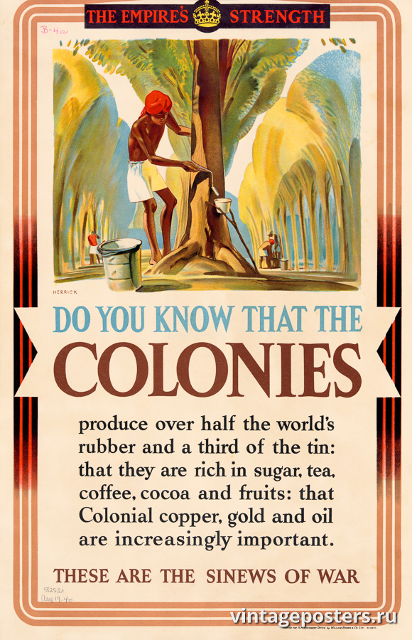 """Винтажный Ретро Постер """"Сила империи: колонии производят более половины мирового каучука"""" США 1939 для интерьера купить"""