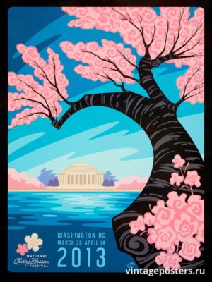 """Винтажный Ретро Постер """"Национальный фестиваль цветения сакуры"""" США 2013 для интерьера купить"""