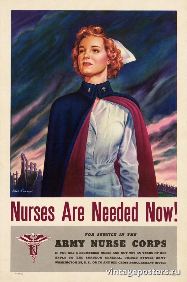 """Винтажный Ретро Постер """"Сейчас нужны медсестры!"""" США 1944 для интерьера купить"""