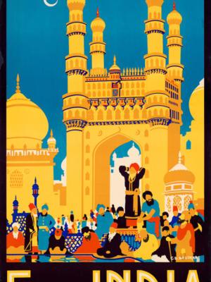 """Винтажный Ретро Постер """"Посмотрите Индию"""" Индия 1950 для интерьера купить"""