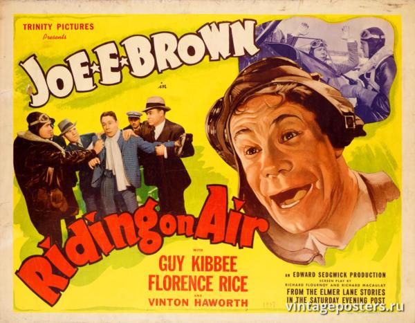 """Винтажный Ретро Постер """"Джо Э. Браун в к/ф «Езда по воздуху»"""" США 1937 для интерьера купить"""
