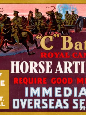"""Винтажный Ретро Постер """"Батарея """"C"""" Королевской канадской конной артиллерии"""" США 1914 для интерьера купить"""