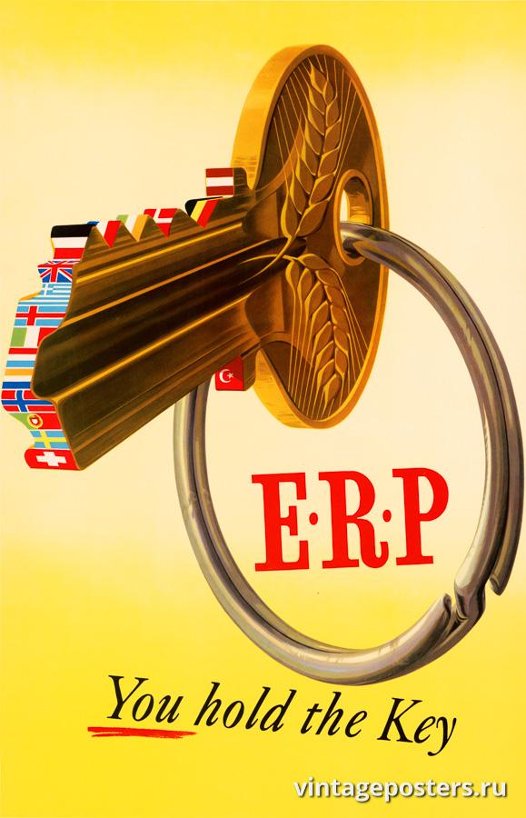 """Винтажный Ретро Постер """"ERP Ключ в ваших руках"""" Нидерланды 1950 для интерьера купить"""
