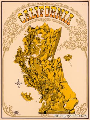 """Винтажный Ретро Постер """"Калифорния"""" США 1969 для интерьера купить"""