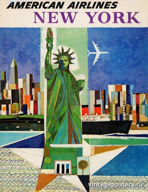 """Винтажный Ретро Постер """"Американские авиалинии - Нью-Йорк"""" США 1964 для интерьера купить"""