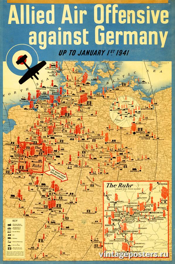 """Винтажный Ретро Постер """"Воздушное наступление союзников на Германию"""" Англия 1940 для интерьера купить"""