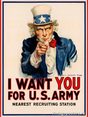 """Винтажный Ретро Постер """"Я хочу, чтобы ты был в армии США. Ближайший призывной пункт """" США 1917 для интерьера купить"""