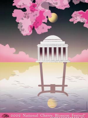 """Винтажный Ретро Постер """"Национальный фестиваль цветения сакуры"""" США 2002 для интерьера купить"""