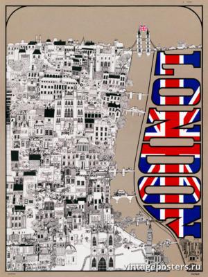 """Винтажный Ретро Постер """"Лондон"""" США 1968 для интерьера купить"""