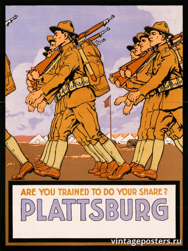 """Винтажный Ретро Постер """"Вы обучены выполнять свой долг? Платтсбург"""" США 1916 для интерьера купить"""