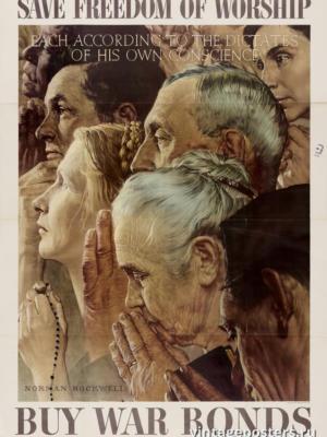 """Винтажный Ретро Постер """"Спасите свободу вероисповедания: купите военные облигации"""" США 1943 для интерьера купить"""