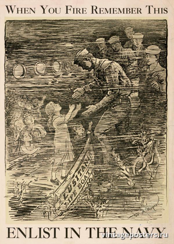 """Винтажный Ретро Постер """"Когда вы стреляете, помните это"""" США 1917 для интерьера купить"""