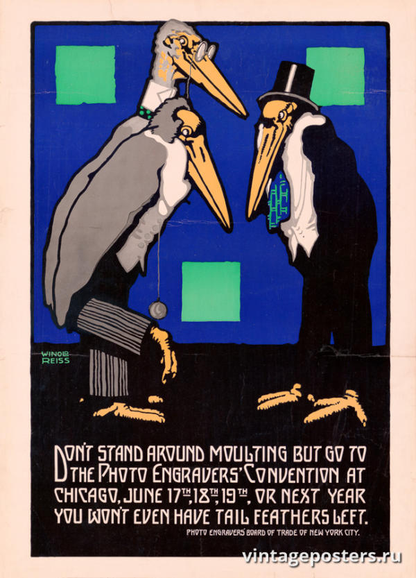 """Винтажный Ретро Постер """"Cоюз фото-граверов"""" США 1915 для интерьера купить"""