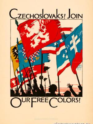 """Винтажный Ретро Постер """"Чехословаки! Присоединяйтесь к нашим свободным флагам!"""" США 1918 для интерьера купить"""