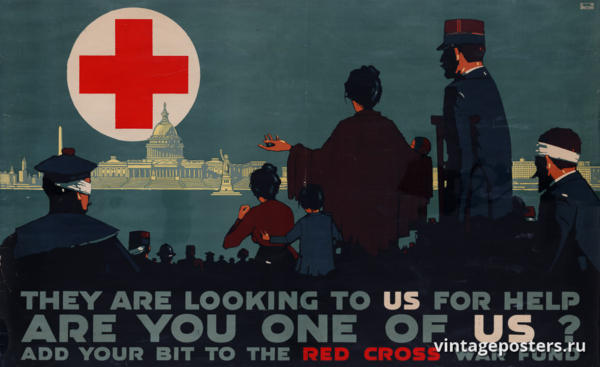 """Винтажный Ретро Постер """"Они обращаются к нам за помощью. Вы один из нас?"""" США 1917 для интерьера купить"""