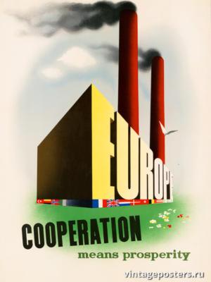 """Винтажный Ретро Постер """"Европа, сотрудничество - это процветание"""" Нидерланды 1947 для интерьера купить"""