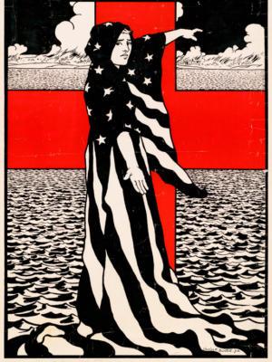 """Винтажный Ретро Постер """"Они отдают там свои жизни, вы должны отдать каждый цент"""" США 1918 для интерьера купить"""