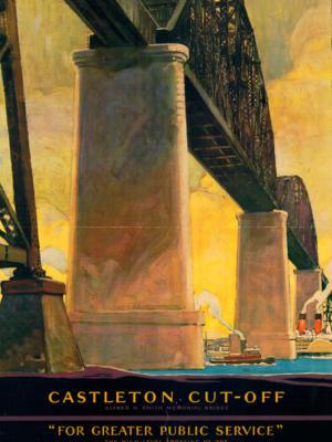 """Винтажный Ретро Постер """"Центральные линии Нью-Йорка. Мемориальный мост Альфреда Смита"""" США 1924 для интерьера купить"""
