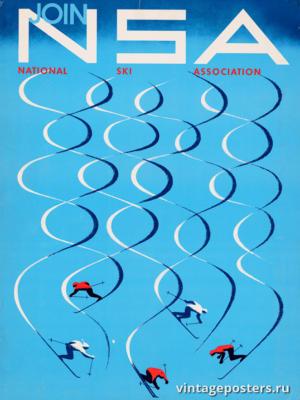 """Винтажный Ретро Постер """"Присоединяйтесь к Национальной лыжной ассоциации"""" США 1957 для интерьера купить"""