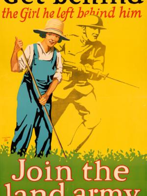 """Винтажный Ретро Постер """"Вступай в аграрную армию"""" США 1918 для интерьера купить"""