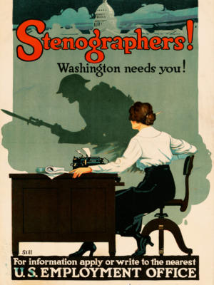 """Винтажный Ретро Постер """"Стенографистки! Вы нужны Вашингтону!"""" США 1917 для интерьера купить"""