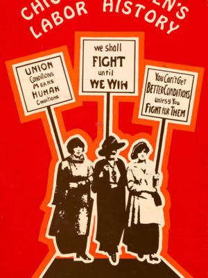 """Винтажный Ретро Постер """"История женского труда в Чикаго"""" США 1965 для интерьера купить"""