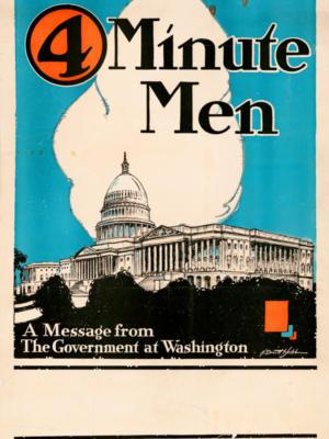 """Винтажный Ретро Постер """"4 Minute men - Сообщение из Вашингтона"""" США 1918 для интерьера купить"""