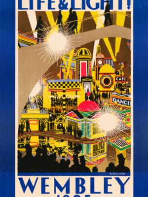 """Винтажный Ретро Постер """"Жизнь и свет! Уэмбли 1925"""" Англия 1925 для интерьера купить"""