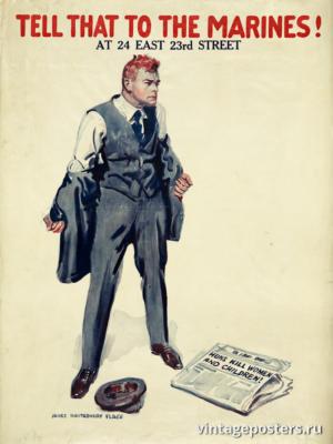 """Винтажный Ретро Постер """"Скажите это морпехам!"""" США 1918 для интерьера купить"""