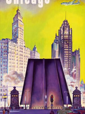 """Винтажный Ретро Постер """"Чикаго — United Air Lines"""" США 1950 для интерьера купить"""