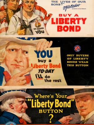 """Винтажный Ретро Постер """"Ваши деньги должны выиграть войну"""" США 1917 для интерьера купить"""