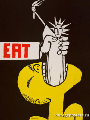"""Винтажный Ретро Постер """"Ешь"""" США 1970 для интерьера купить"""