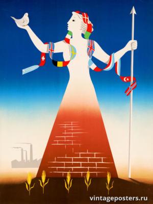 """Винтажный Ретро Постер """"Прочная основа мира, сельского хозяйства и промышленности через сотрудничество"""" Нидерланды 1947 для интерьера купить"""