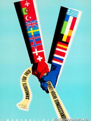 """Винтажный Ретро Постер """"Сотрудничество во имя мира, свободы, более высокого уровня жизни"""" Нидерланды 1947 для интерьера купить"""