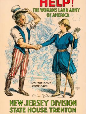 """Винтажный Ретро Постер """"Помогите! Женская сухопутная армия Америки, дивизия Нью-Джерси"""" США 1918 для интерьера купить"""