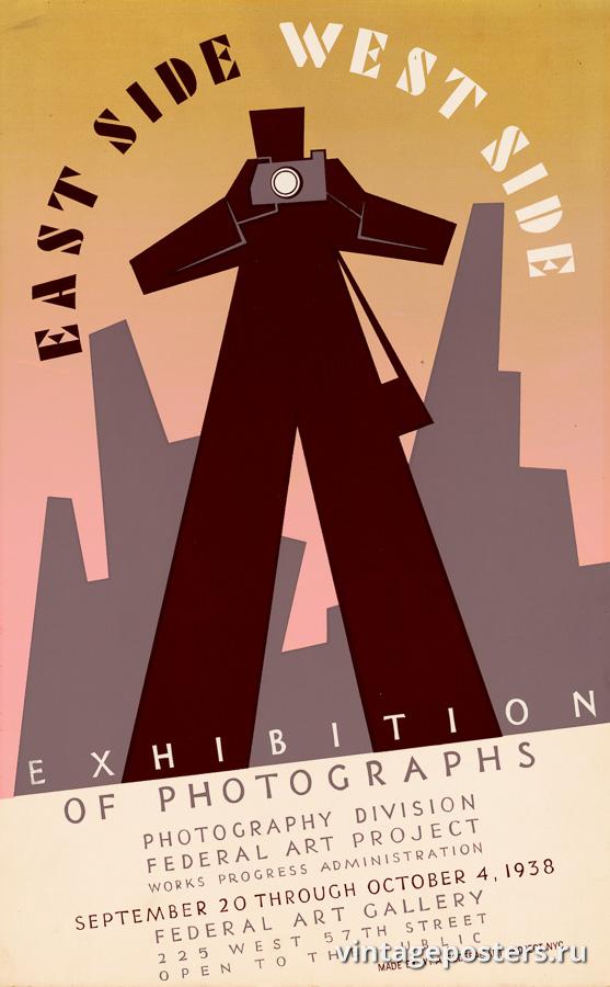 """Винтажный Ретро Постер """"«East side, West side» Выставка фотографий"""" США 1938 для интерьера купить"""