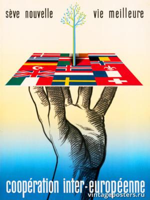 """Винтажный Ретро Постер """"Межевропейское сотрудничество"""" Нидерланды 1947 для интерьера купить"""