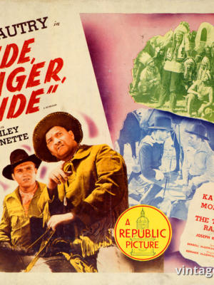 """Винтажный Ретро Постер """"Джин Отри, Джордж Льюис и Макс Терхьюном в к/ф «Едь, рейнджер, едь»"""" США 1936 для интерьера купить"""