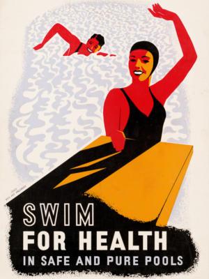 """Винтажный Ретро Постер """"Плавайте для здоровья в безопасных и чистых бассейнах"""" США 1940 для интерьера купить"""