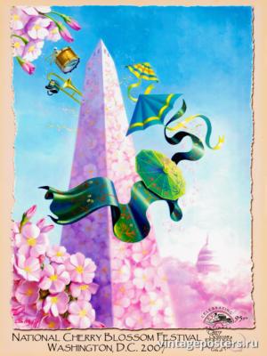 """Винтажный Ретро Постер """"Национальный фестиваль цветения сакуры"""" США 2007 для интерьера купить"""