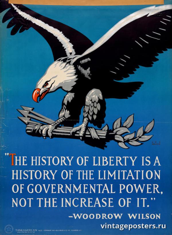 """Винтажный Ретро Постер """"История свободы - это история ограничения государственной власти"""" США 1941 для интерьера купить"""