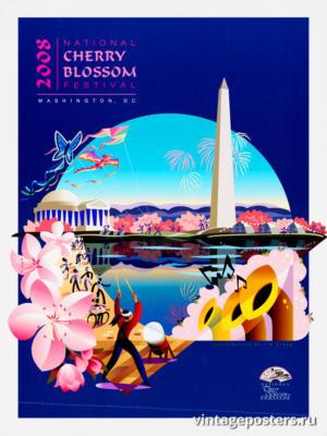 """Винтажный Ретро Постер """"Национальный фестиваль цветения сакуры"""" США 2008 для интерьера купить"""