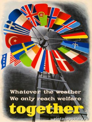"""Винтажный Ретро Постер """"Какая бы ни была погода, мы достигаем благополучия только вместе"""" Нидерланды 1947 для интерьера купить"""