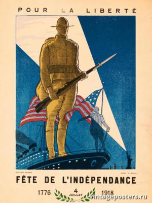 """Винтажный Ретро Постер """"Праздник независимости"""" Франция 1918 для интерьера купить"""