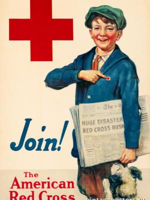 """Винтажный Ретро Постер """"Присоединяйся! Американский Красный Крест"""" США 1917 для интерьера купить"""