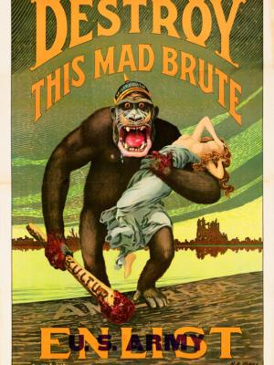 """Винтажный Ретро Постер """"Уничтожьте этого безумного зверя. Вступите в армию США"""" США 1917 для интерьера купить"""