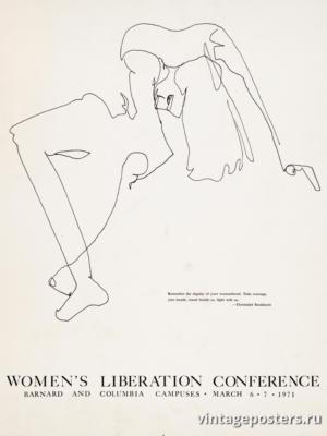 """Винтажный Ретро Постер """"Конференция по освобождению женщин"""" США 1971 для интерьера купить"""