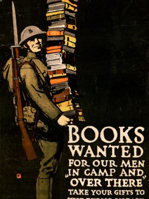 """Винтажный Ретро Постер """"Нужны книги для наших людей, отнесите свои подарки в публичную библиотеку"""" США 1918 для интерьера купить"""